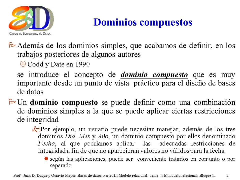 Dominios compuestosAdemás de los dominios simples, que acabamos de definir, en los trabajos posteriores de algunos autores.