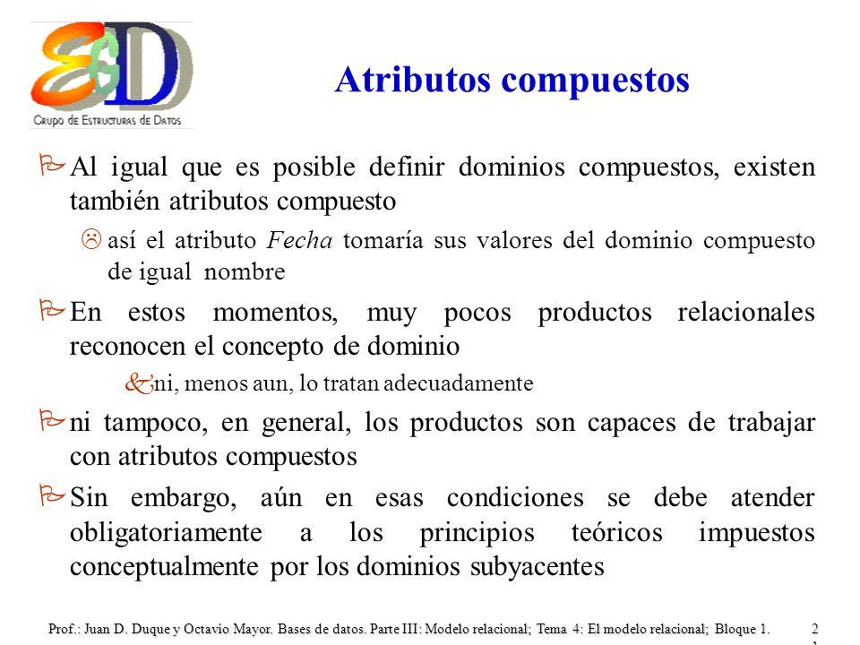 Atributos compuestos Al igual que es posible definir dominios compuestos, existen también atributos compuesto.
