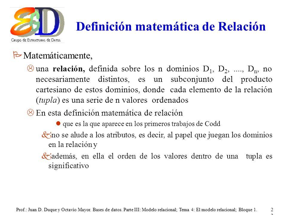 Definición matemática de Relación