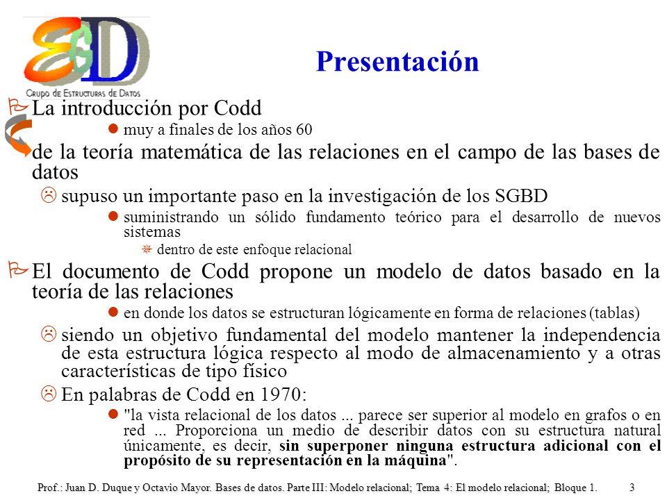 Presentación La introducción por Codd
