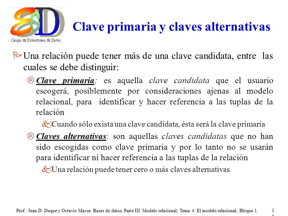 Clave primaria y claves alternativas