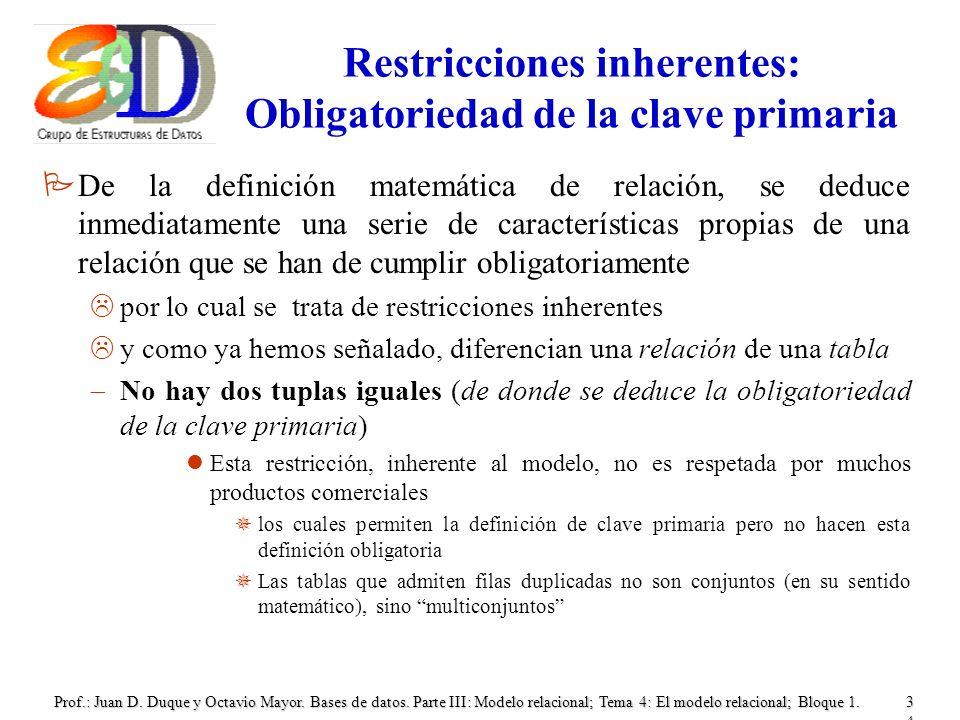 Restricciones inherentes: Obligatoriedad de la clave primaria