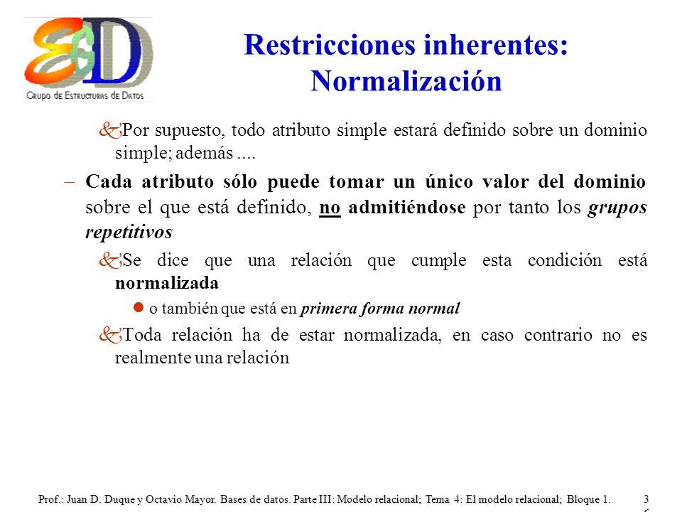 Restricciones inherentes: Normalización