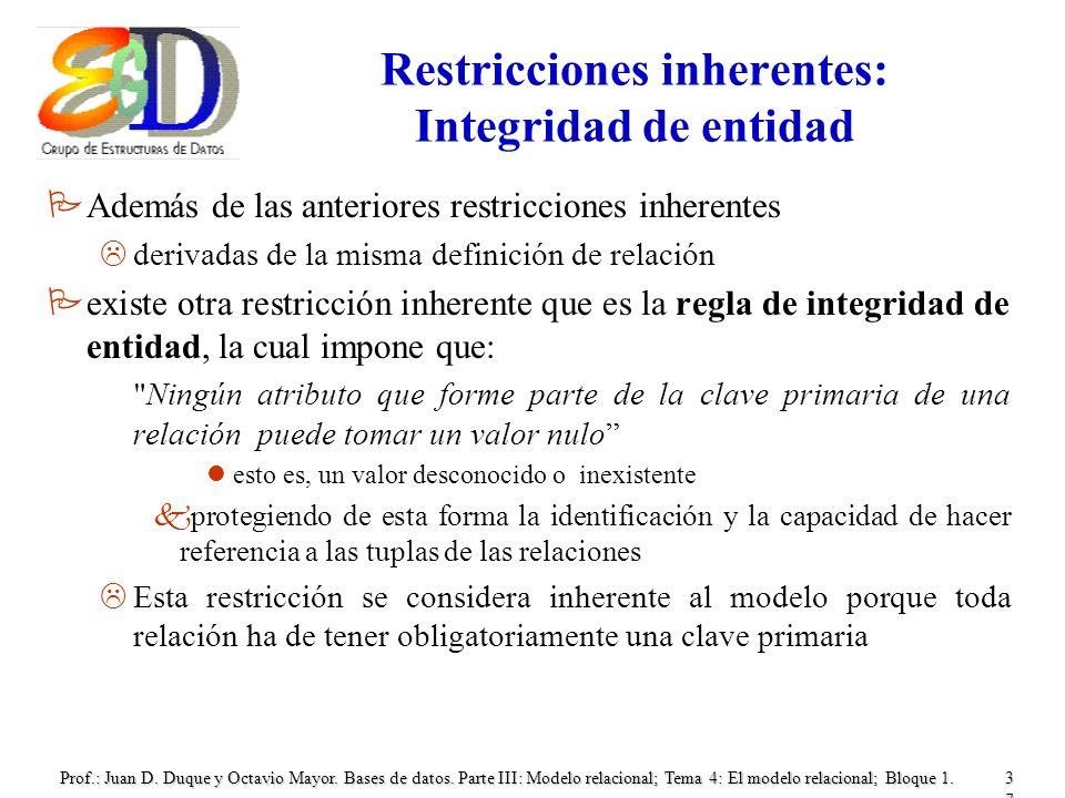 Restricciones inherentes: Integridad de entidad