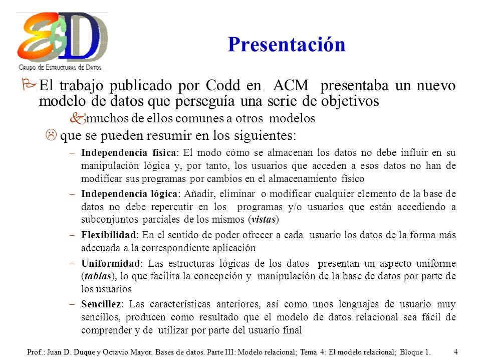 Presentación El trabajo publicado por Codd en ACM presentaba un nuevo modelo de datos que perseguía una serie de objetivos.