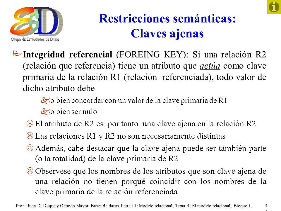 Restricciones semánticas: Claves ajenas