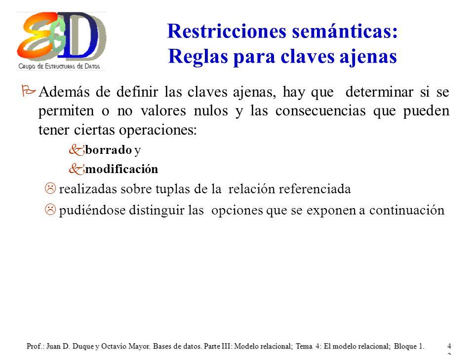 Restricciones semánticas: Reglas para claves ajenas