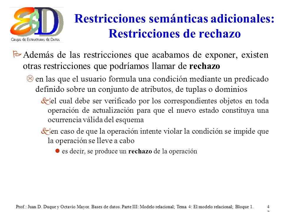 Restricciones semánticas adicionales: Restricciones de rechazo