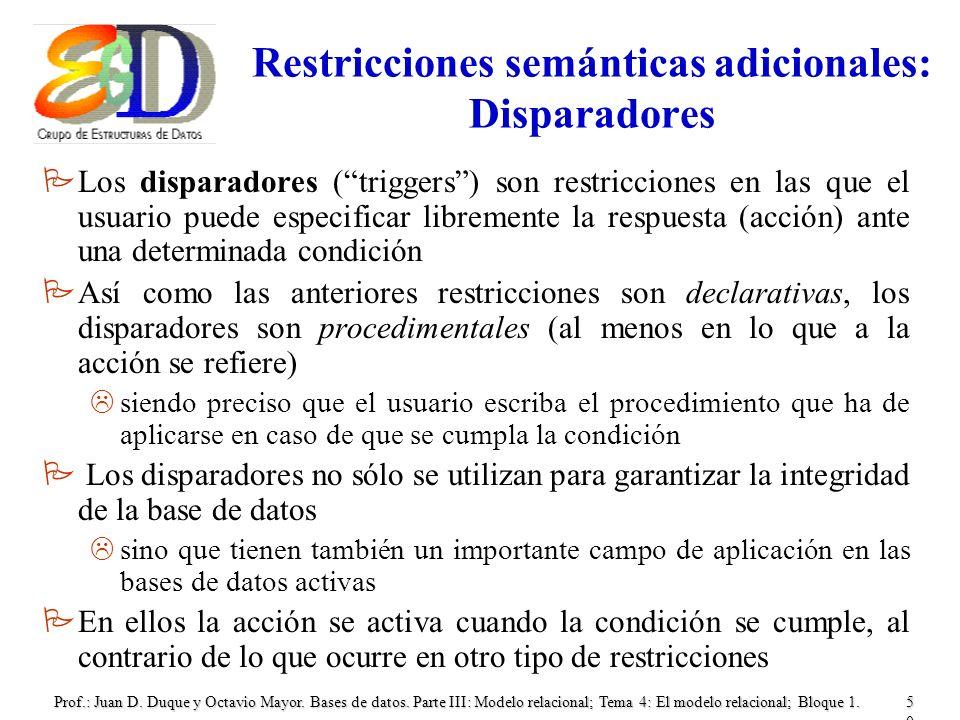 Restricciones semánticas adicionales: Disparadores