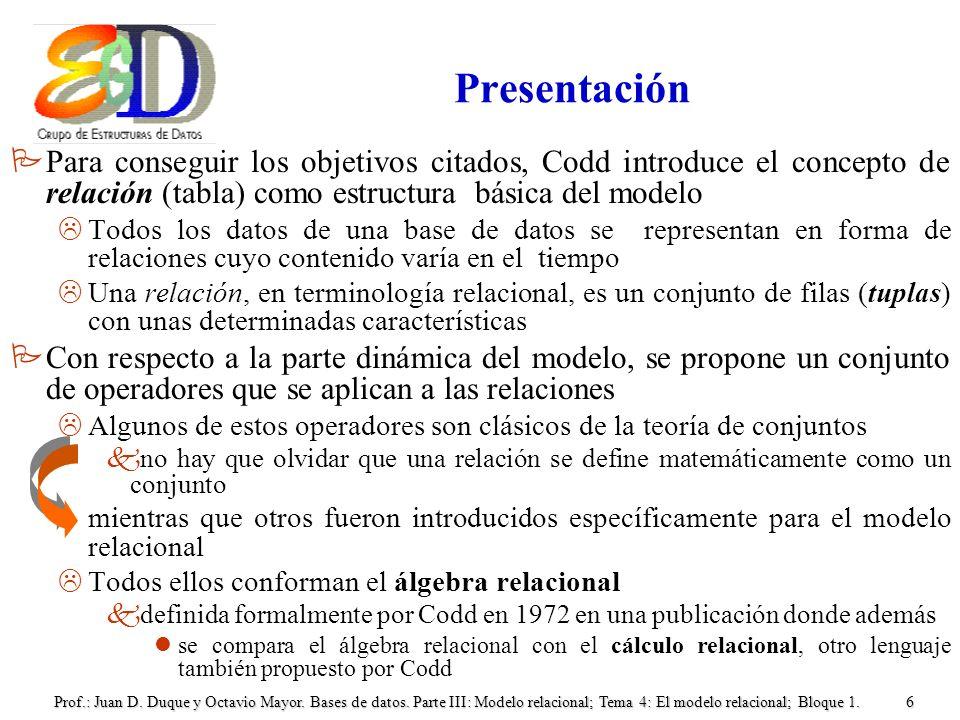 Presentación Para conseguir los objetivos citados, Codd introduce el concepto de relación (tabla) como estructura básica del modelo.