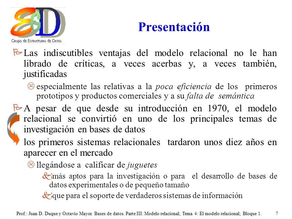 Presentación Las indiscutibles ventajas del modelo relacional no le han librado de críticas, a veces acerbas y, a veces también, justificadas.