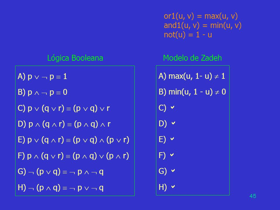 E) p  (q  r)  (p  q)  (p  r) F) p  (q  r)  (p  q)  (p  r)