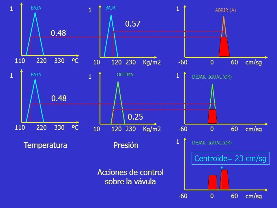 0.57 0.48 0.48 0.25 Temperatura Presión Centroide= 23 cm/sg