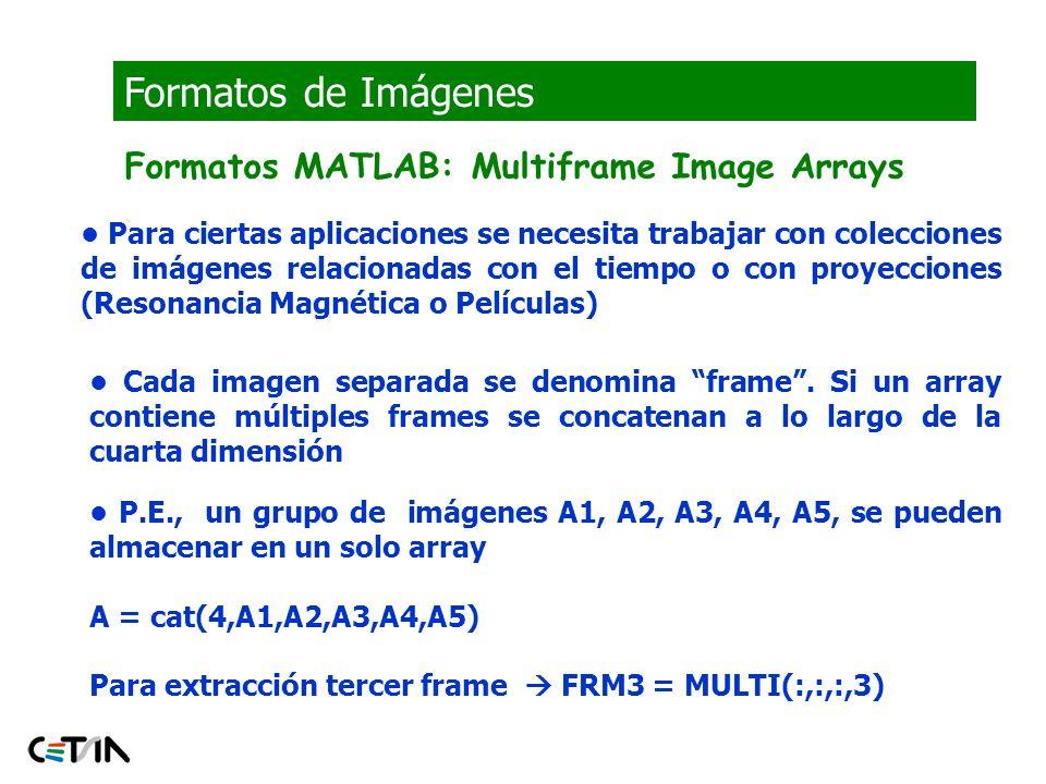 Formatos de Imágenes Formatos MATLAB: Multiframe Image Arrays