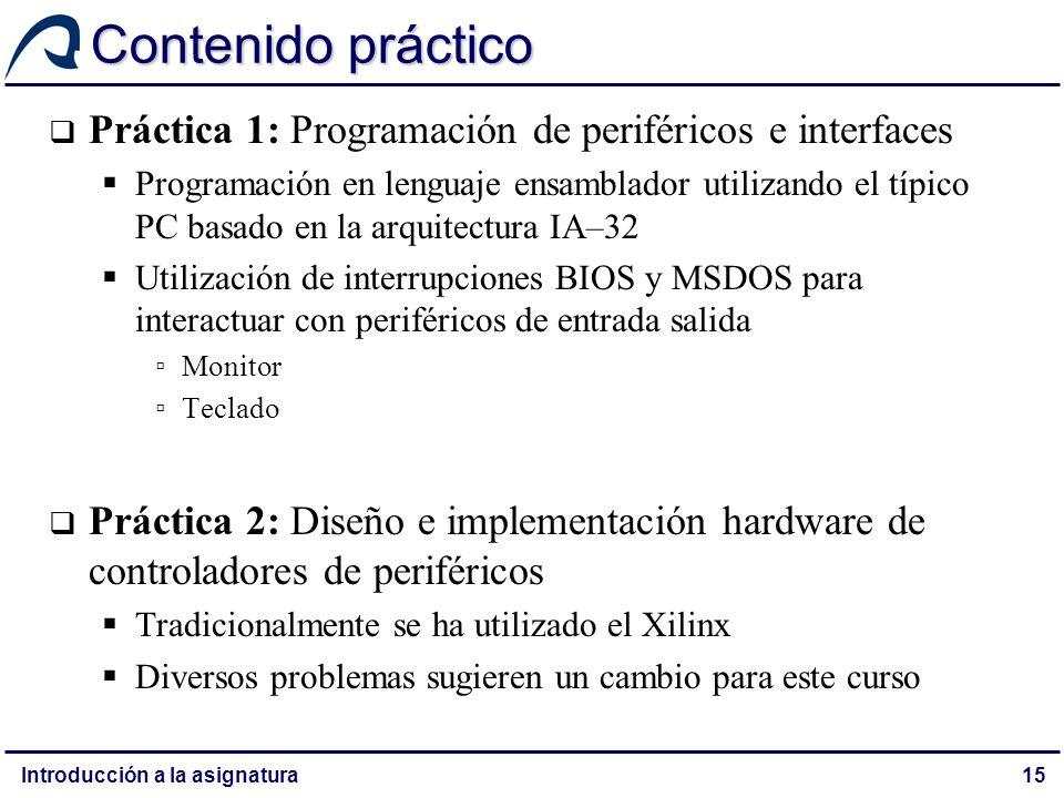 Contenido práctico Práctica 1: Programación de periféricos e interfaces.
