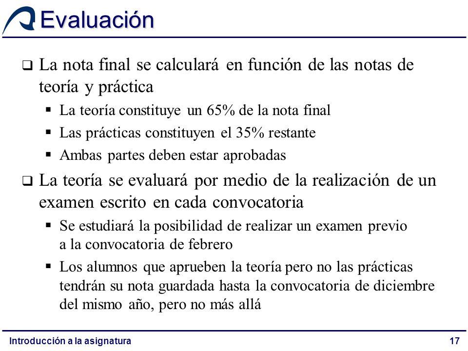 Evaluación La nota final se calculará en función de las notas de teoría y práctica. La teoría constituye un 65% de la nota final.