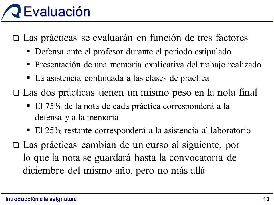 Evaluación Las prácticas se evaluarán en función de tres factores