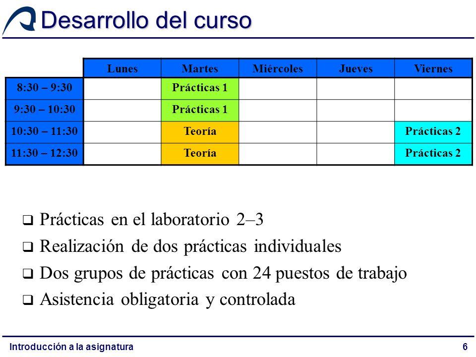 Desarrollo del curso Prácticas en el laboratorio 2–3