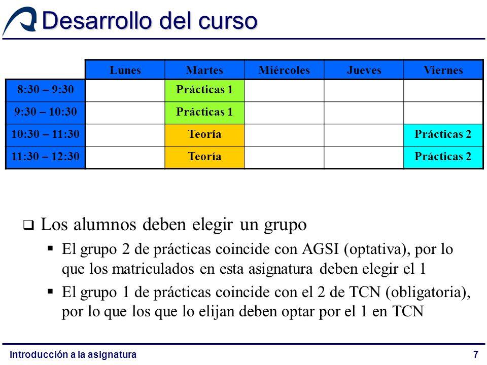 Desarrollo del curso Los alumnos deben elegir un grupo