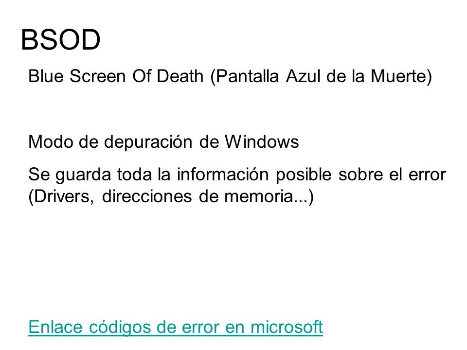 BSOD Blue Screen Of Death (Pantalla Azul de la Muerte)