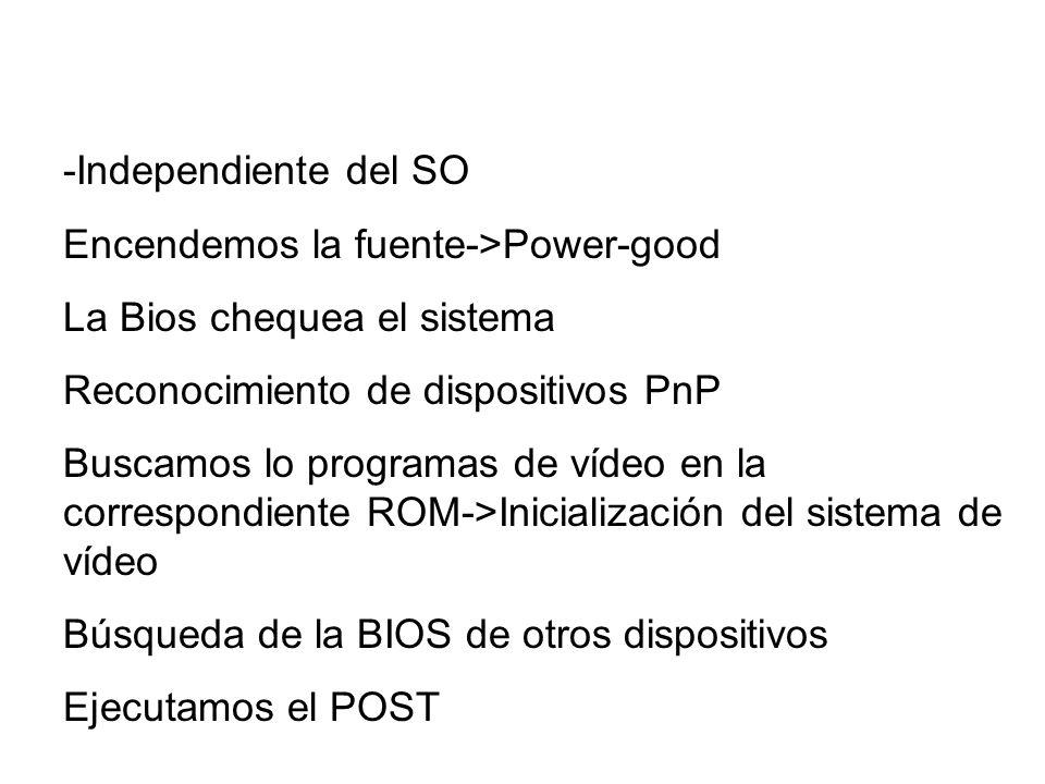 -Independiente del SO Encendemos la fuente->Power-good. La Bios chequea el sistema. Reconocimiento de dispositivos PnP.