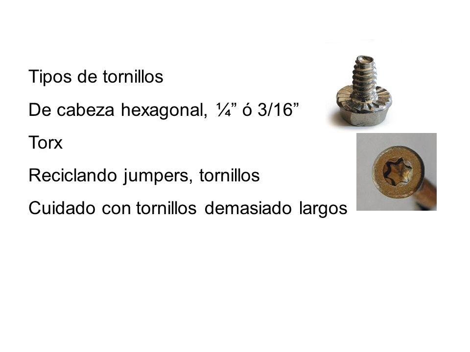 Tipos de tornillos De cabeza hexagonal, ¼ ó 3/16 Torx.