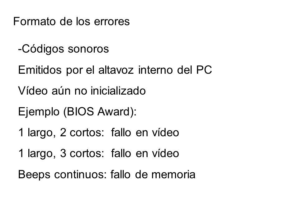 Formato de los errores -Códigos sonoros. Emitidos por el altavoz interno del PC. Vídeo aún no inicializado.