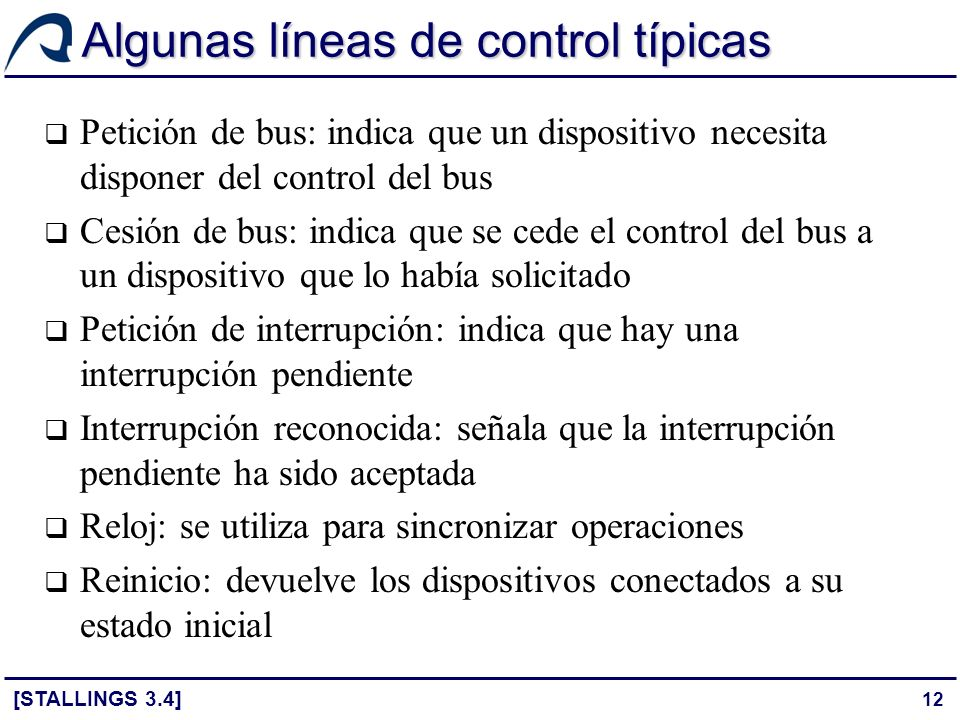 Algunas líneas de control típicas