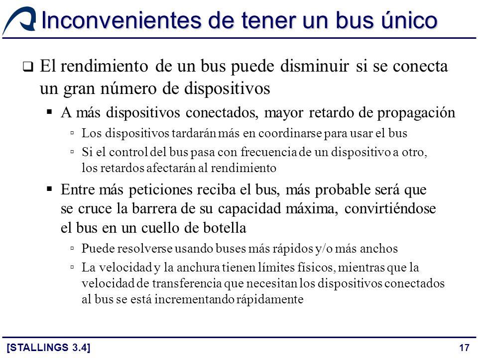 Inconvenientes de tener un bus único