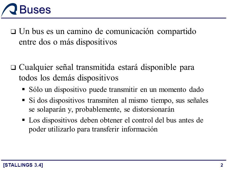 Buses Un bus es un camino de comunicación compartido entre dos o más dispositivos.