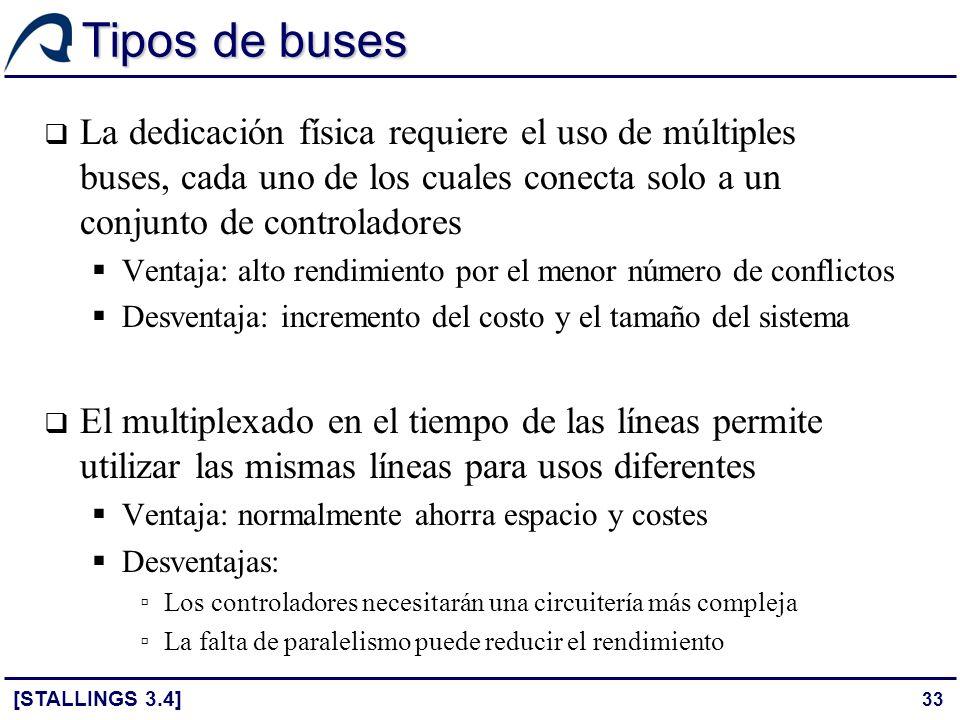Tipos de buses La dedicación física requiere el uso de múltiples buses, cada uno de los cuales conecta solo a un conjunto de controladores.