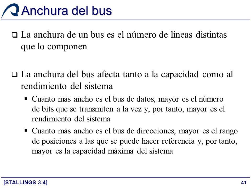 Anchura del bus La anchura de un bus es el número de líneas distintas que lo componen.