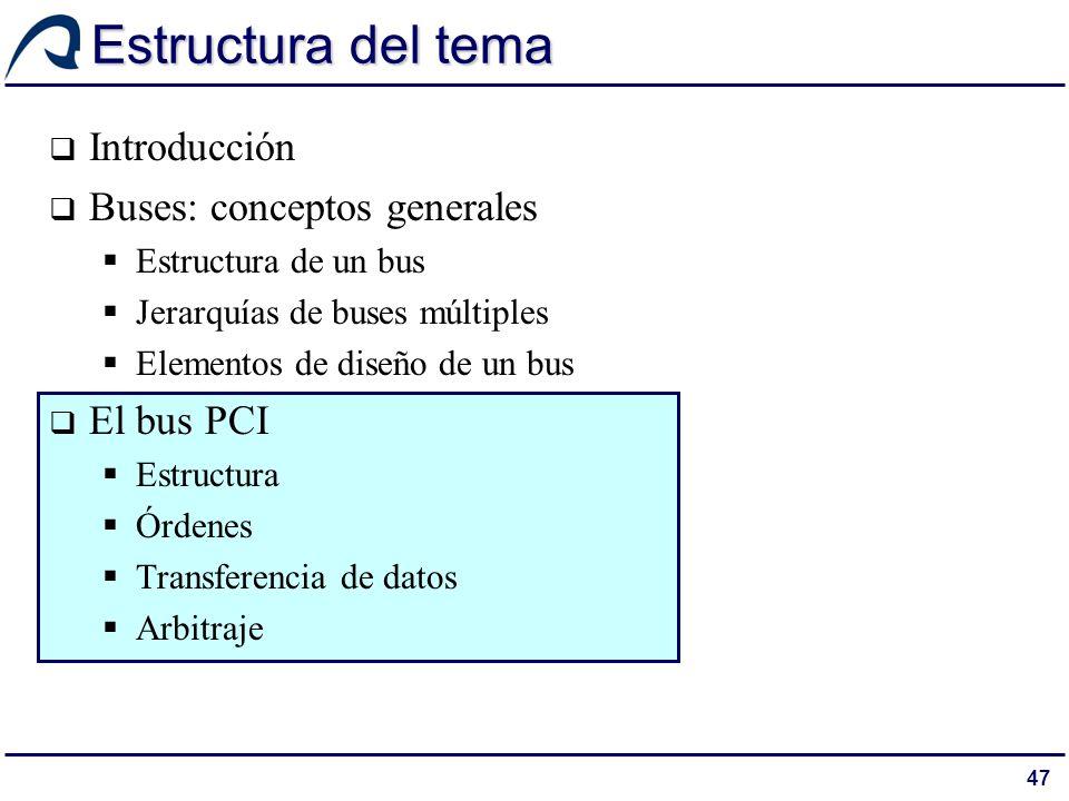 Estructura del tema Introducción Buses: conceptos generales El bus PCI