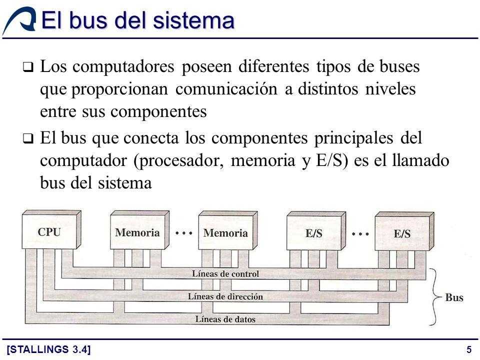 El bus del sistema Los computadores poseen diferentes tipos de buses que proporcionan comunicación a distintos niveles entre sus componentes.