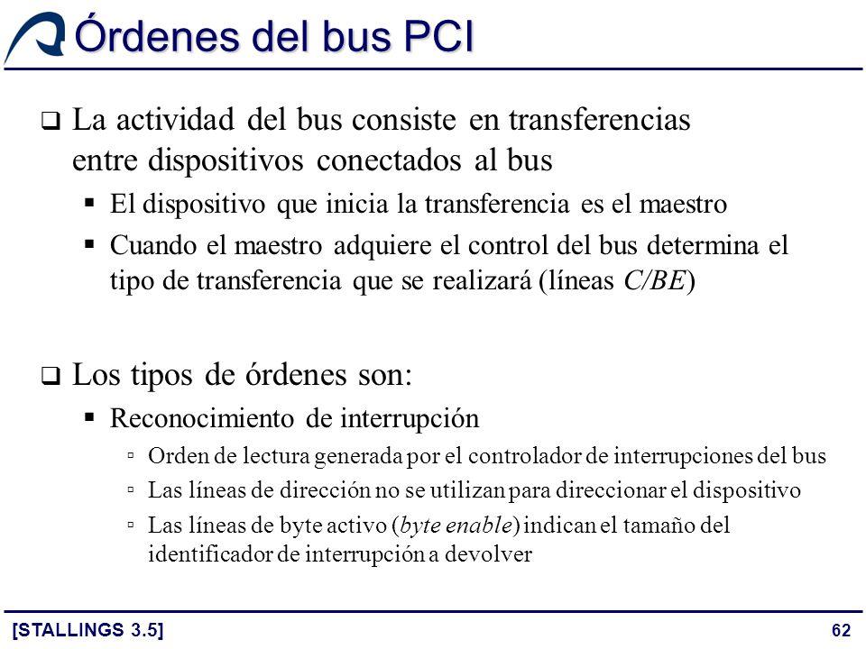 Órdenes del bus PCI La actividad del bus consiste en transferencias entre dispositivos conectados al bus.