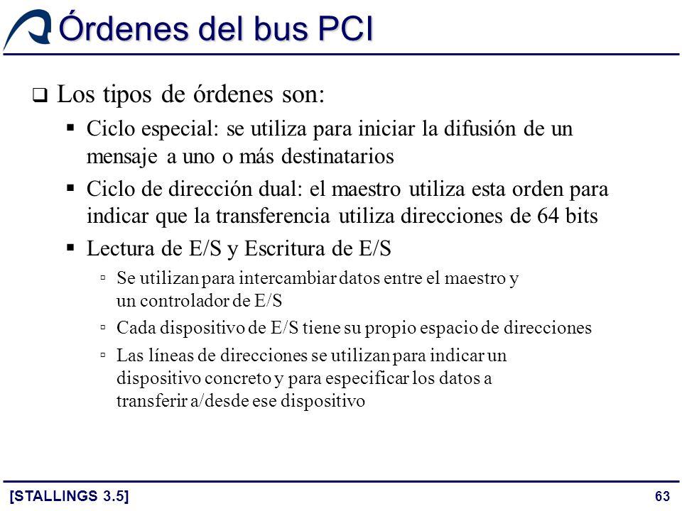 Órdenes del bus PCI Los tipos de órdenes son: