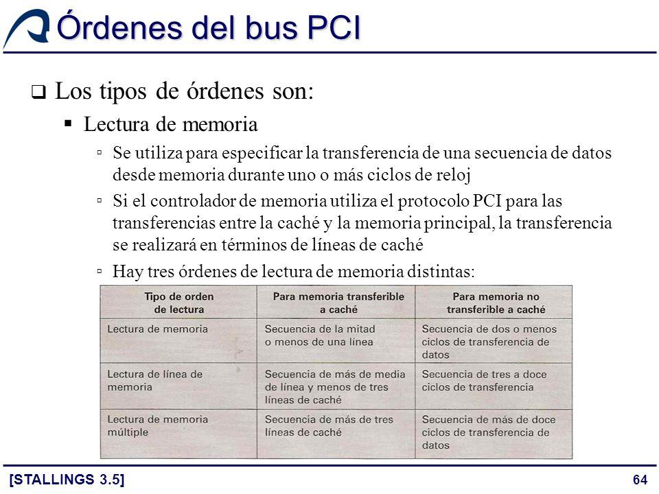 Órdenes del bus PCI Los tipos de órdenes son: Lectura de memoria