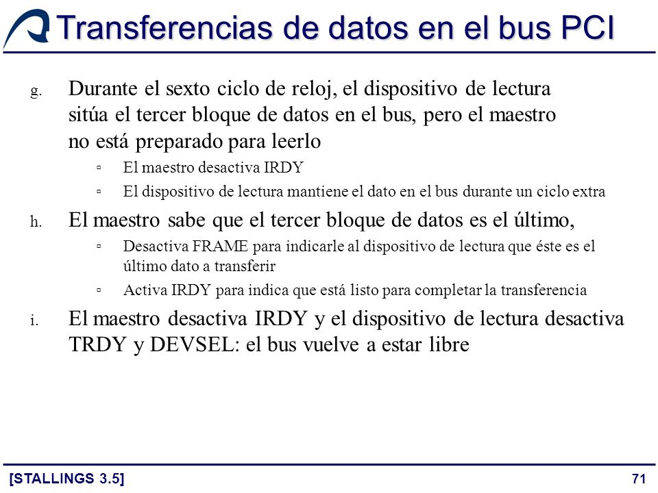 Transferencias de datos en el bus PCI