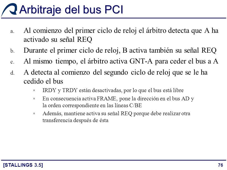 Arbitraje del bus PCI Al comienzo del primer ciclo de reloj el árbitro detecta que A ha activado su señal REQ.