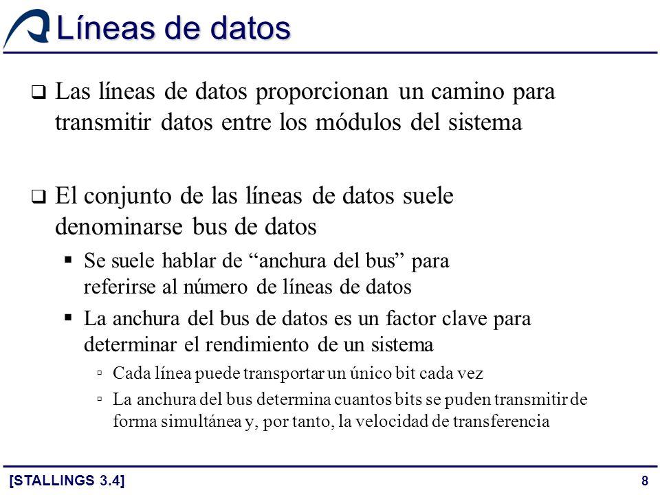 Líneas de datos Las líneas de datos proporcionan un camino para transmitir datos entre los módulos del sistema.