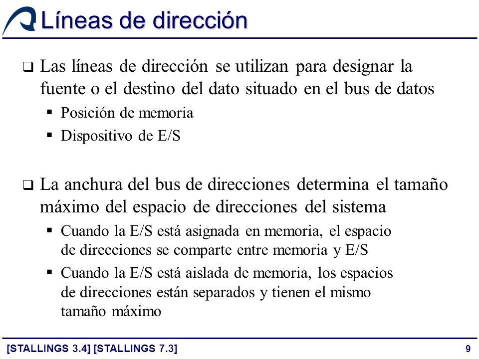Líneas de dirección Las líneas de dirección se utilizan para designar la fuente o el destino del dato situado en el bus de datos.