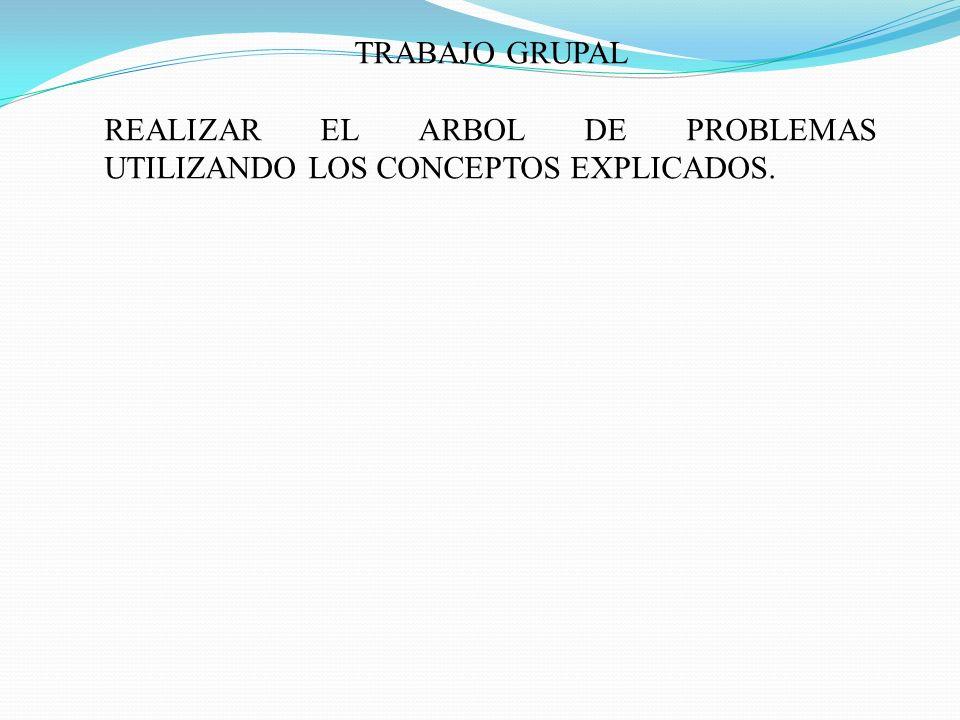 TRABAJO GRUPAL REALIZAR EL ARBOL DE PROBLEMAS UTILIZANDO LOS CONCEPTOS EXPLICADOS.