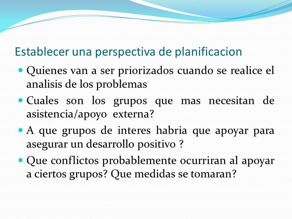 Establecer una perspectiva de planificacion