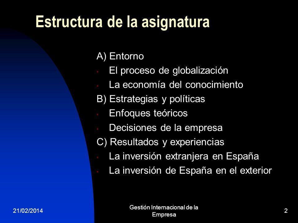 Estructura de la asignatura