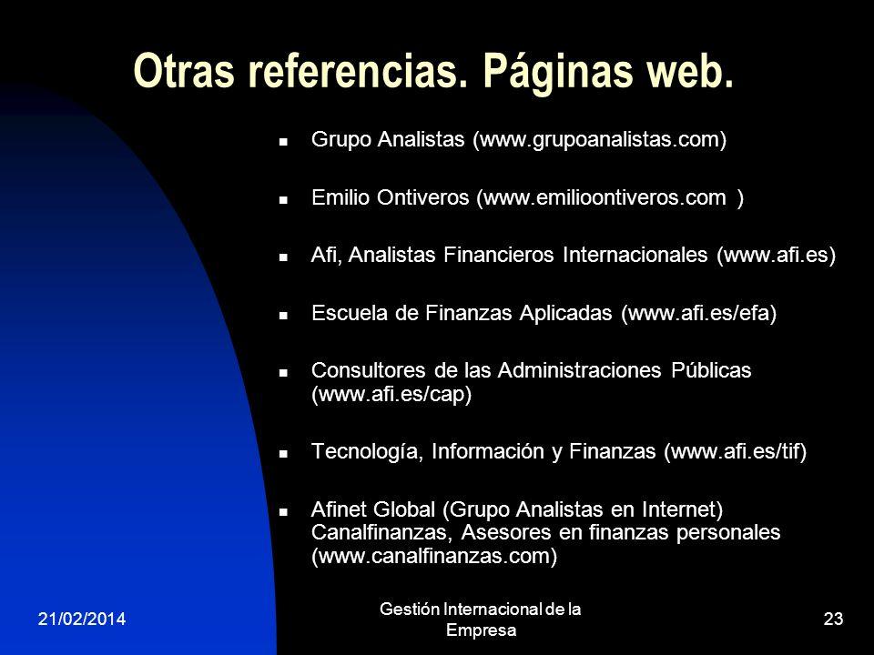 Otras referencias. Páginas web.