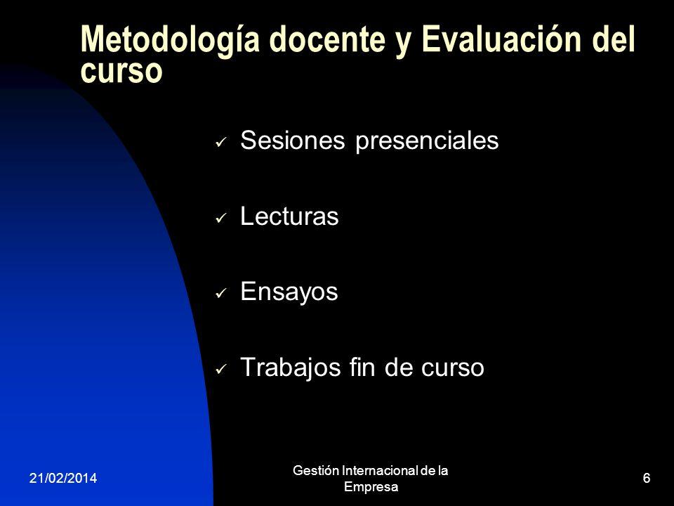 Metodología docente y Evaluación del curso