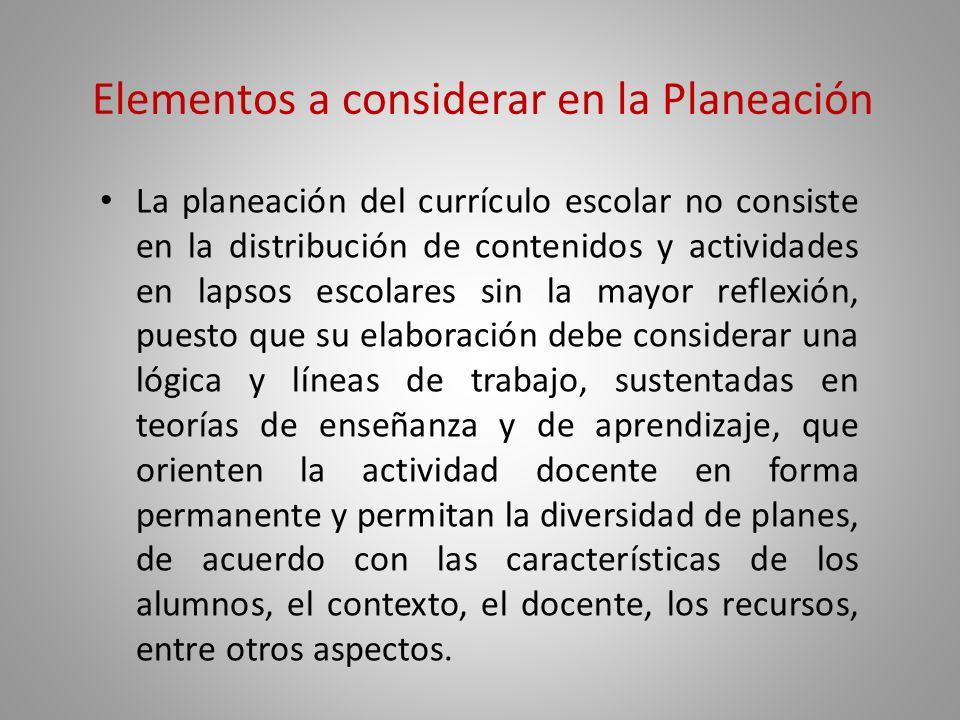 Elementos a considerar en la Planeación