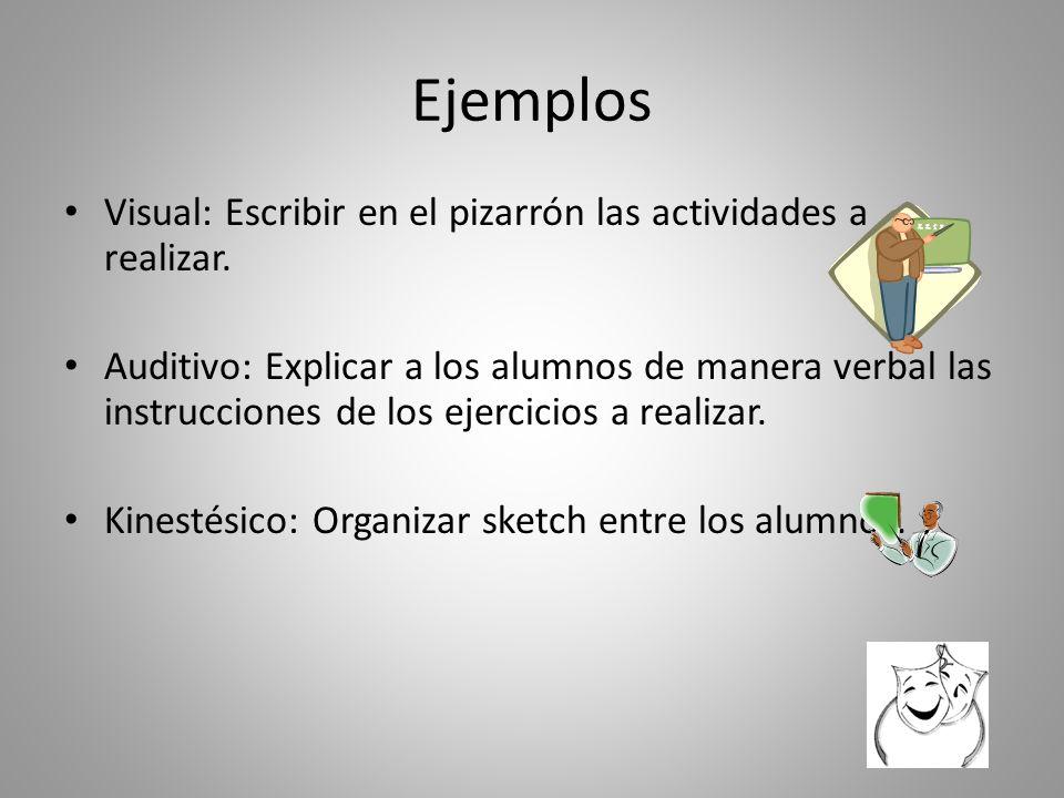Ejemplos Visual: Escribir en el pizarrón las actividades a realizar.