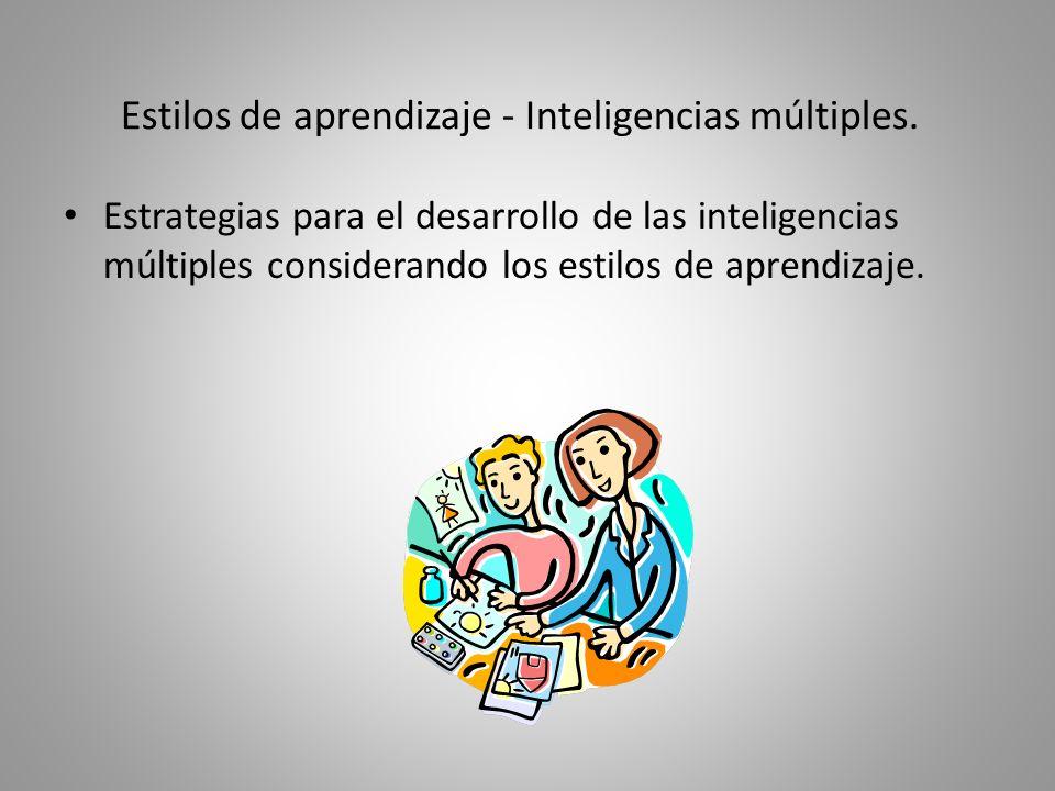 Estilos de aprendizaje - Inteligencias múltiples.