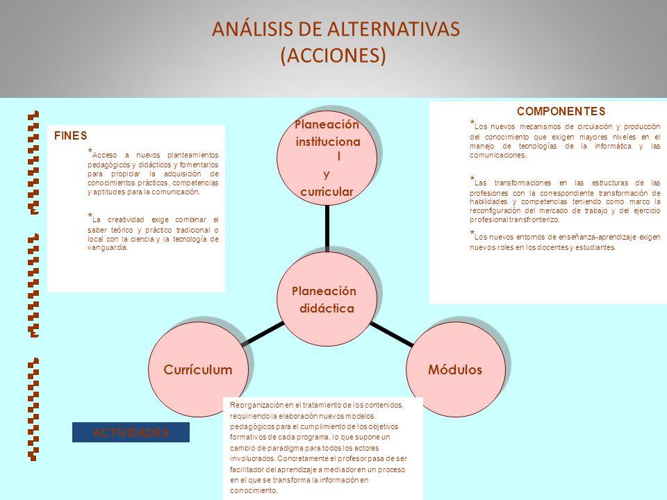 ANÁLISIS DE ALTERNATIVAS (ACCIONES)
